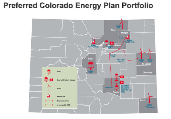 Xcel's Colorado Energy Plan build out. Courtesy Xcel filings
