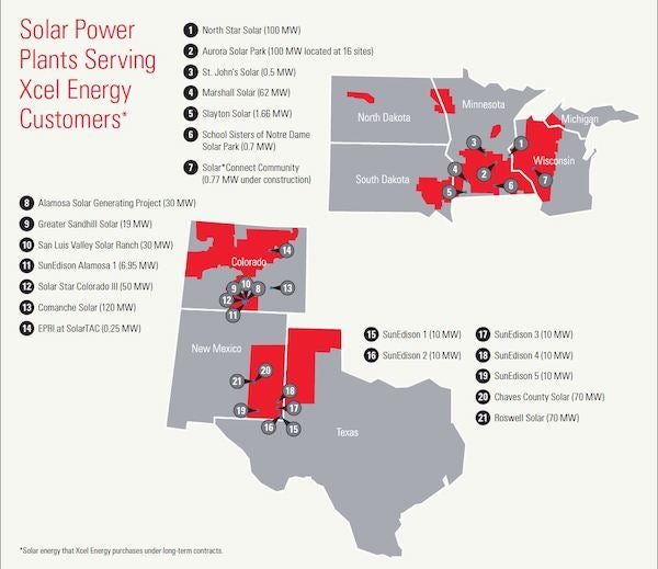Xcel solar map. Courtesy Xcel